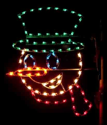 Silhouette Snowman Face Commercial Pole Light Decoration, 5 Feet