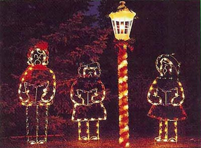 Carolers and Lamppost with Lantern Light Display
