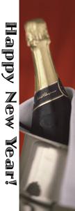 Happy New Year Champagne Bottle Banner