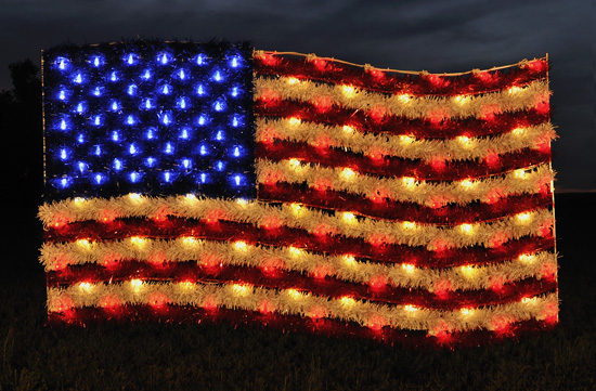 Large United States Flag With Garland And Led Lights