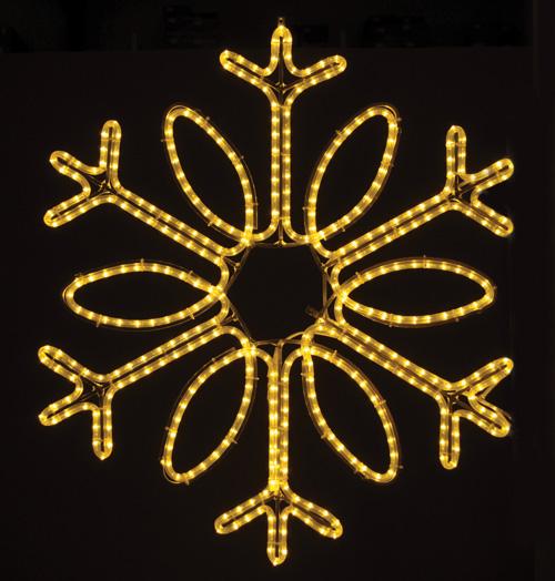 Gorgeous Single Loop hanging snowflake featuring warm white RL LED light outdoor winter decorations