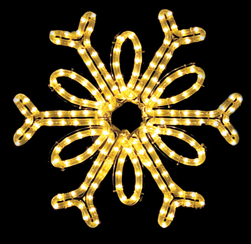 Gorgeous Single Loop hanging snowflake featuring warm white RL LED light outdoor winter decorations - 18 inch