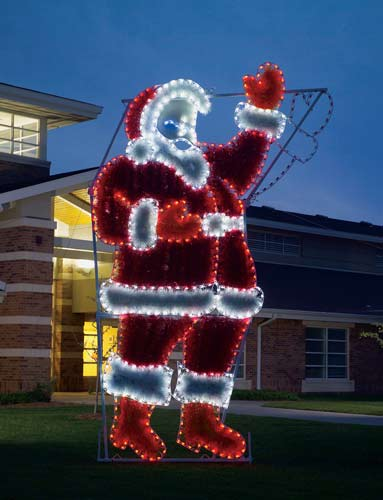Waving Santa Commercial Outdoor LED Lights and Garland decoration