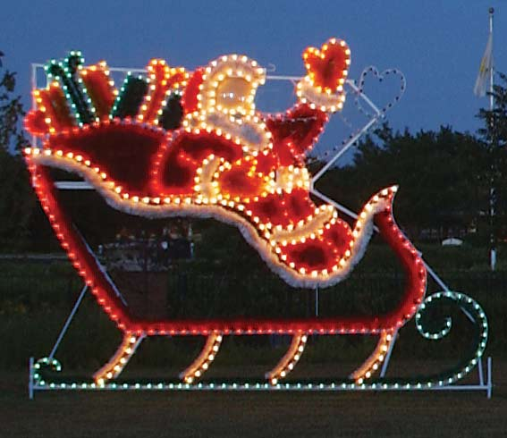animated santa in sleigh garland christmas lights commercial outdoor decoration