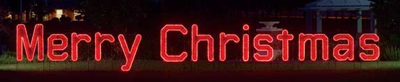 Merry Christmas Garland and LED light Character Display to hang across streets or stake into the ground