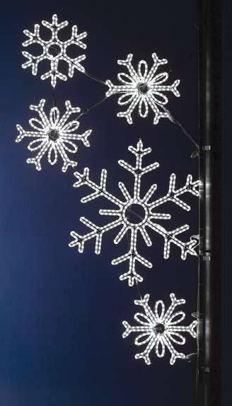 Bright LED Falling Snowflakes commercial Pole decoration