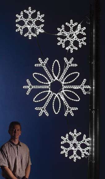 Bright pure white LED Cluster of Snowflakes commercial Pole decoration