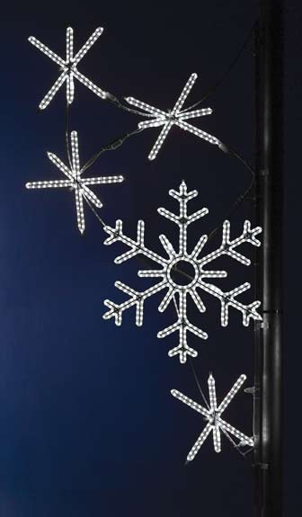 Bright pure white LED cascading snowflakes commercial Pole decoration