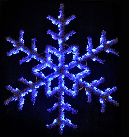 Large versatile 5 feet hanging snowflake featuring blue C7 LED lights