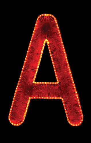 Large garland and LED alphabet letter A