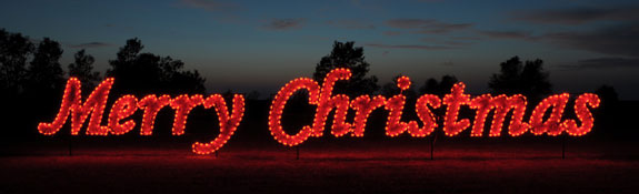 Merry Christmas script Garland and LED light Character Display to hang across streets or stake into the ground