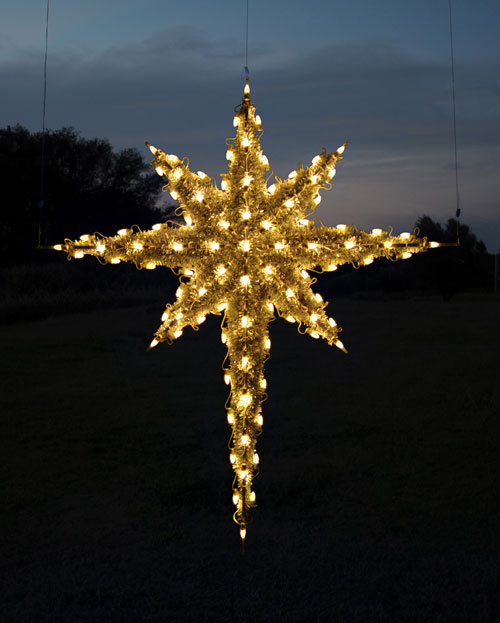 Hanging 3-D Garland Moravian Star, 6.8 feet, Warm White LED lights