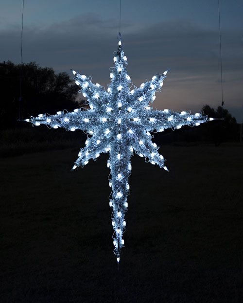 Hanging 3-D garland and LED lights Moravian Star, 6.8 feet, Cool White