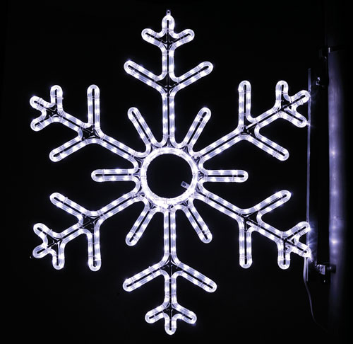 6 Point Snowflake, 3 Ft. Pole Decoration in Pure White