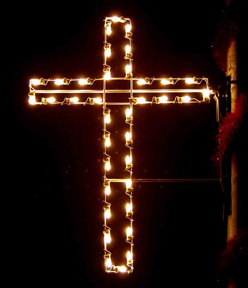 Large 4 foot Silhouette Christian Cross, Christmas Pole Mount Decor
