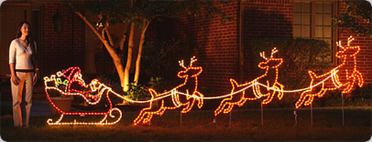Small Santa Sleigh and Reindeer Set Light Display