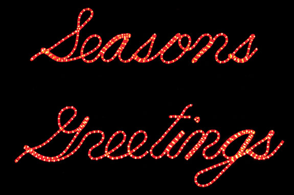 Red season 39 s greetings script ropelight silhouette sign for Large outdoor christmas signs