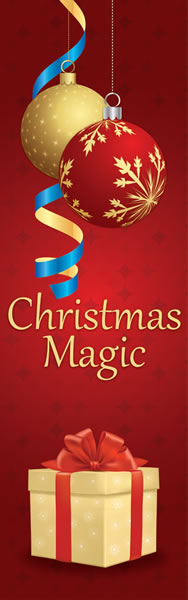 Christmas Magic Holiday Light Pole Banner with Ornaments