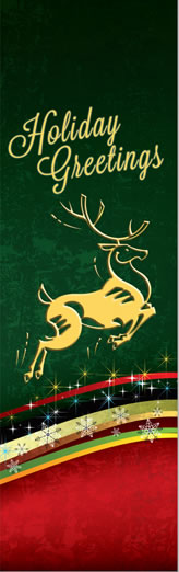 Elegant Leaping Deer Holiday Greetings Light Pole Banner