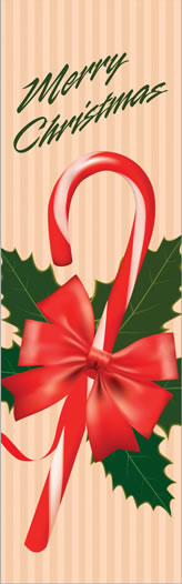 Candy Cane with Holly Merry Christmas Light Pole Banner