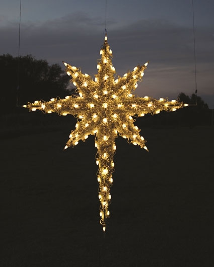 Large commercial grade Hanging Moravian Star, 6 feet, Warm White