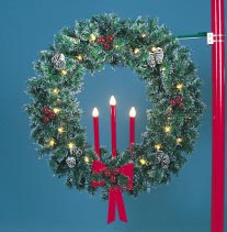 5' Garland Pole Mount Wreath w/Three Candles