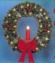 "Pole Mount Deluxe Garland Wreath with 23"" Red Candle, Pole Mount 5 Feet"