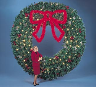 Building Front Deluxe Garland Wreath with 3' and 5' Lighted Garland Bow, 10 and 12 feet