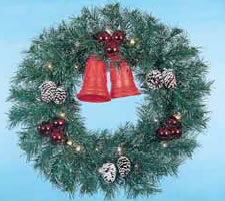 Building Front Garland Wreath with Two Jingle Bells, 3 feet