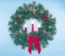 Building Front Garland Wreath with Three Red Candles, 3 feet