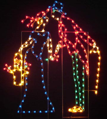 Silhouette Yuletide Kissing Couple, 7 feet