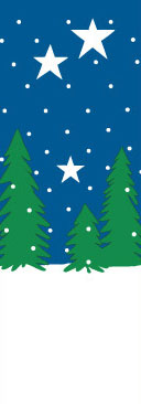 Snowy Winter Pine Trees with Stars Banner