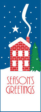 Season's Greetings Snowy Winter House Banner