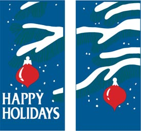 Happy Holidays Double Tree Branches Banner w/ Ornaments
