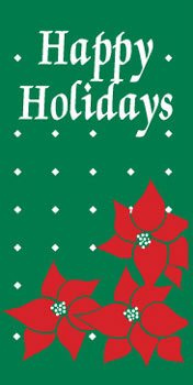 Poinsettia Happy Holidays Banner