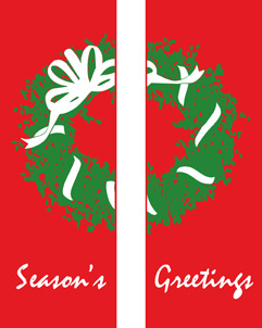 Wreath with Bow Seasons Greetings Double Banner