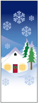 Snowy Winter House and Trees Banner