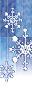 Torn Paper Snowflake Banner - Blue Background