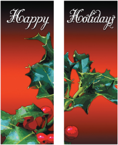 Happy Holiday Holly Leaf Double Banner