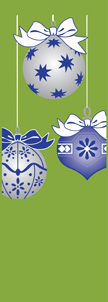 Blue and Silver Holiday Ornaments on Green Background Banner