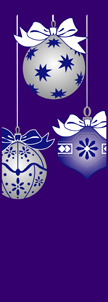 Blue and Silver Holiday Ornaments on Purple Background