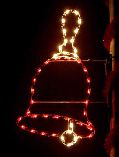 Silhouette Hand Bell Holiday Light Decoration for a Pole Mount, 5 Feet