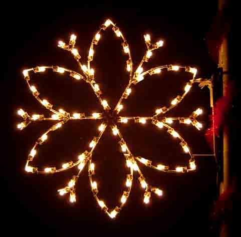 Silhouette Flower Petal Snowflake Commercial Pole Decoration, 4 Feet