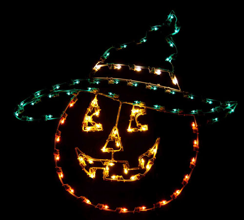 large 4 foot silhouette jack o lantern head with witches hat halloween led light display