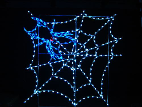 8' Silhouette Spider in Web Spooky Halloween Lights Lawn Decoration