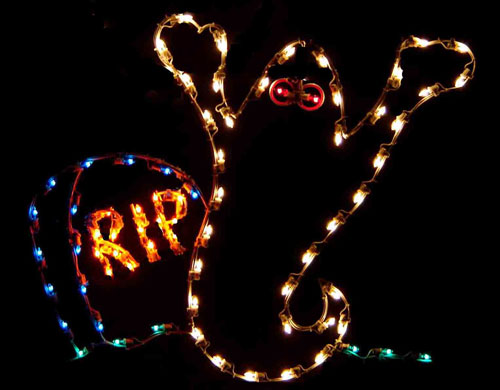 Large 5 Silhouette Ghost with RIP Tombstone Halloween - Light Up Halloween Decorations