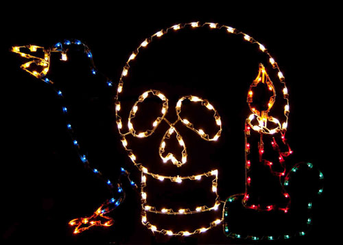 5' Silhouette Witch's Tools featuring skull, raven bird, and candle Halloween Lights Lawn Decoration