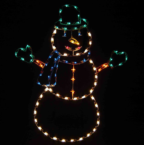 Jolly Silhouette Snowman Wearing Mittens 6 Feet Large