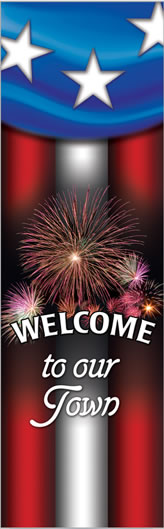 Welcome Celebration Pole Banner with Fireworks and Flag