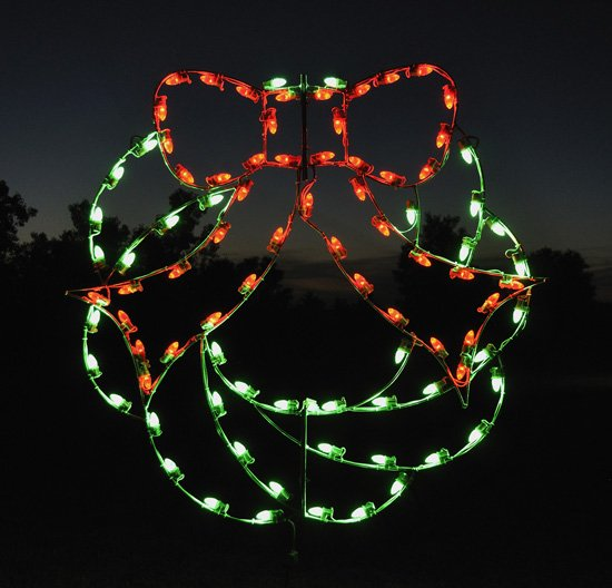 4 Foot Green Christmas Wreath with Red Bow LED Outdoor Holiday Light Display